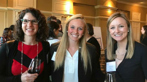 Andrea Tecce, Amy Moyer with student at mentor dinner