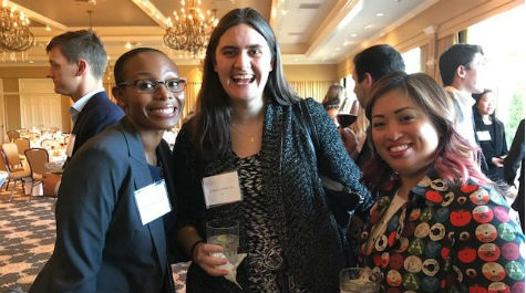 Caroline Offutt and Marlene Aquino with student at mentor dinner